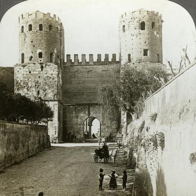 Gate of St Sebastian in the Aurelian Wall, Rome, Italy