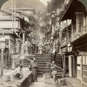 Main Street Up the Steep Side of Mount Haruna at a Famous Village of Hot Springs, Ikao, Japan, 1904 by Underwood & Underwood