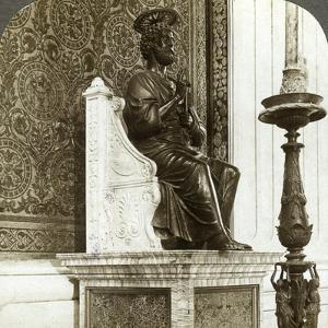 Statue of St Peter, St Peter's Basilica, Rome, Italy by Underwood & Underwood