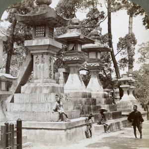 Stone Lanterns at Sumiyoshi, Osaka, Japan, 1904 by Underwood & Underwood