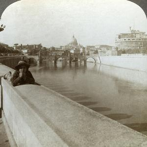 The River Tiber, Castel Sant' Angelo and St Peter's Basilica, Rome, Italy by Underwood & Underwood