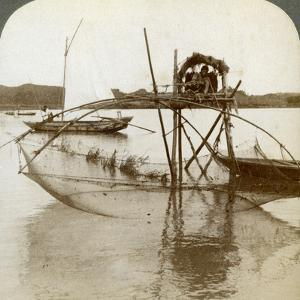 Toiler of the Sea, with His Curious Fishing Net, Bay of Matsushima, Japan, 1904 by Underwood & Underwood