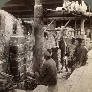 Workmen Watching Kilns Full of Awata Porcelain, Kinkosan Works, Kyoto, Japan, 1904 by Underwood & Underwood