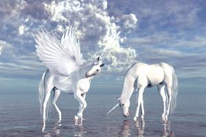 Unicorn and Pegasus on a Beach