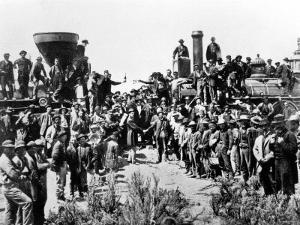 Union Pacific and the Central Pacific Railways at Promontory Point, Omaha, 10th May 1869