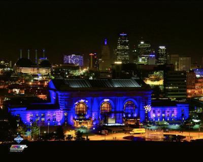Union Station is lit up before the Kansas City Royals 2015 World Series Champions Parade