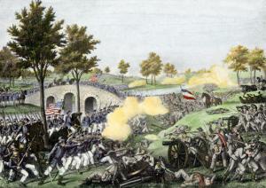 Union Troops Battling Their Way across Burnside Bridge in the Battle of Antietam