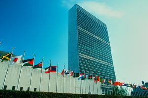 United Nations Building with flags in New York City, New York