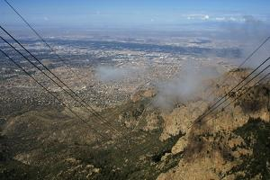 United States. Albuquerque. Panorama with Sandia Mountains from the Cable Car