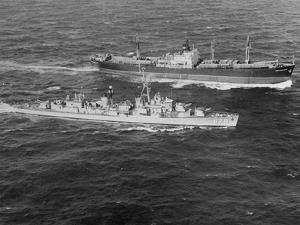 United States Destroyer Intercepting Soviet Freighter