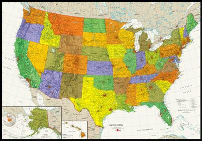 United States Map Physical And Political Poster