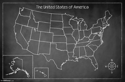 United States Of America Chalk Map