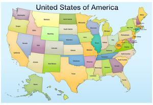 United States of America Map Educational Poster Print