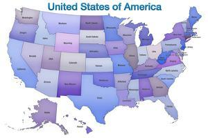 United States of America Map USA Blue Tonal