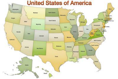 United States of America Map USA Green Tonal Art Poster Print
