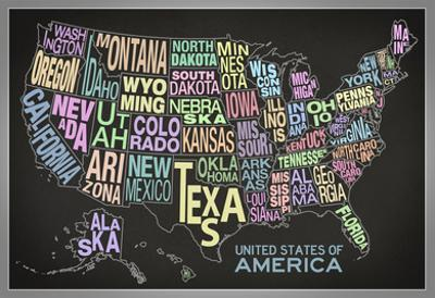 United States of America Stylized Text Map (Black)