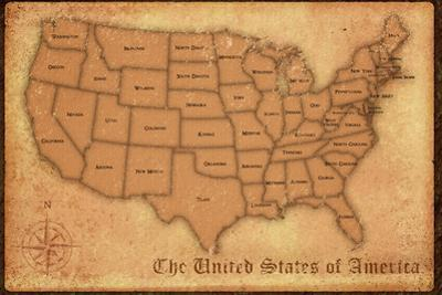 United States Vintage Style Map Plastic Sign
