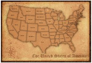 United States Vintage Style Map