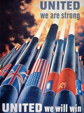 United We are Strong, United We Will Win', World War Two Poster