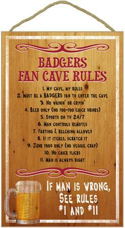 University of Wisconsin Badgers Fan Cave Rules Wood Sign