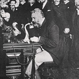 Alexander Graham Bell makes the first telephone call between New York and Chicago, USA, 1892 by Unknown
