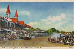 'An Exciting Finish at Churchill Downs, Louisville, Ky', c1940 by Unknown
