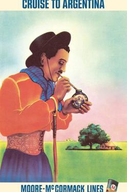 Argentina - Argentinean Gaucho Drinking Mate - Moore-McCormack Lines by Unknown