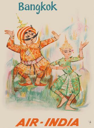 Bangkok, Thailand - Air India - Maharaja with Thai Classical Khon Dancer by Unknown