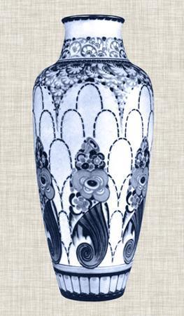 Blue & White Vase I by Unknown