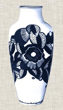 Blue & White Vase III by Unknown