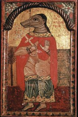 Byzantine icon of St Christopher with a dog's head. Artist: Unknown by Unknown
