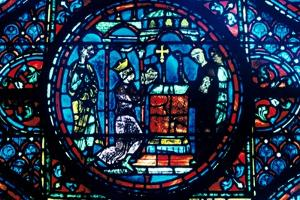 Charlemagne gives relics to the Chapel at Aix, stained glass, Chartres Cathedral, France, c1225 by Unknown