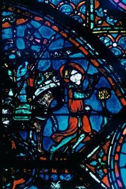 Charlemagne prays, stained glass, Chartres Cathedral, France, c1225. Artist: Unknown by Unknown