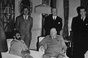'Churchill in Cairo, with Ethiopian Emperor, Haile Selassie', 1943, (1945) by Unknown