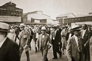 Commuters from New Jersey crossing West Street from the Hoboken ferry, New York, USA, early 1930s by Unknown
