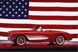 Corvette 1957 with US Flag by Unknown