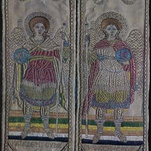 Detail from embroidered vestments of angels, 17th century by Unknown