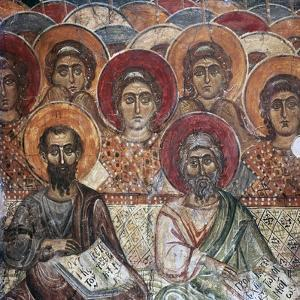 Detail of a fresco of Saints in Paradise, 13th century by Unknown