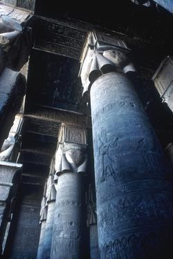 Detail of pillar, Temple of Hathor, Dendera, Egypt, c125 BC-c60 AD. Artist: Unknown by Unknown
