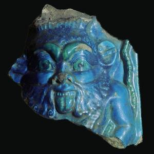 Egyptian faience head of Bes. Artist: Unknown by Unknown