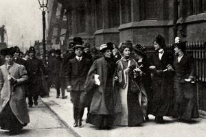 Emmeline Pankhurst, British suffragette leader, carrying a petition, London, 13 February 1908 by Unknown