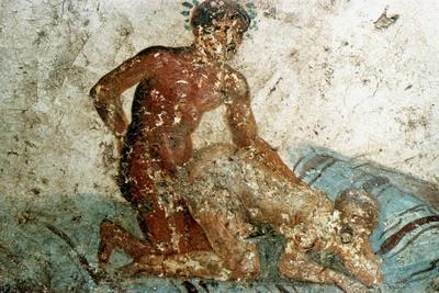 Erotic mural, Pompeii, Italy. Artist: Unknown