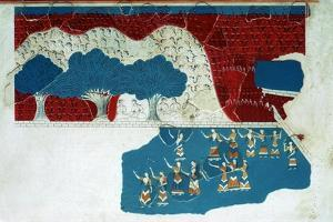Fresco of the royal court of the Minoan palace at Knossos, 18th century BC by Unknown