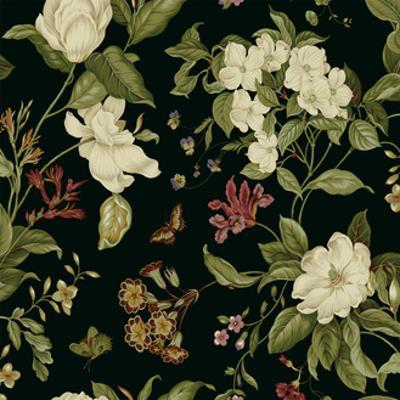Garden Floral on Black II by Unknown