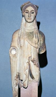Greek statue Kore 674 from the Acropolis, 6th century BC. Artist: Unknown by Unknown