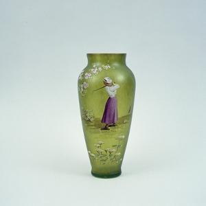 Hand-painted glass vase showing lady golfer, 10 1/2 inches high, c1905 by Unknown