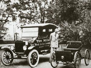 Henry Ford, American car manufacturer, with two of his cars, USA, 1924 by Unknown