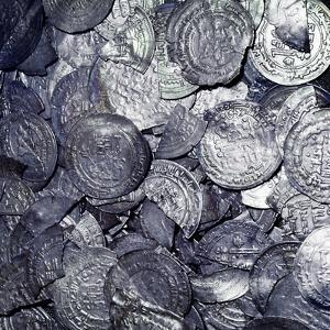 Hoard of silver & Arab coins from a Viking grave, Sweden, 10th century. Artist: Unknown by Unknown