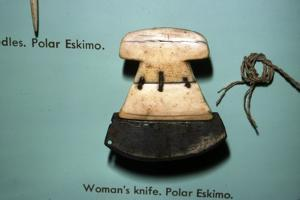 Inuit, Polar Eskimo or Inughuit, Woman's knife in Bone and steel by Unknown