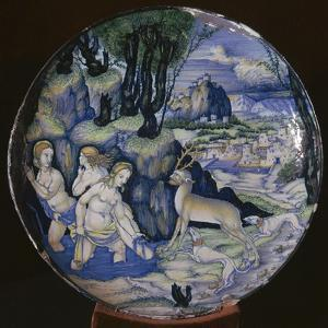 Italian earthenware plate showing Artemis turning Actaeon into a stag by Unknown